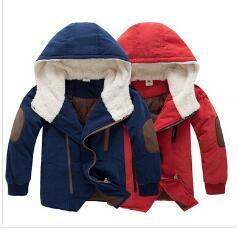 Retail 2014 new kids boys' winter outerwear hooded coat top quality thick wadded jacket parkas child clothing kids Free shipping