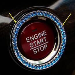 Wholesale 1PCS Blue Automobiles AUTO DECORATIVE ACCESSORIES Car TRACK vehicles BUTTON START Switch Diamond Ring Interior DIY