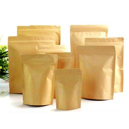 Wholesale Food Moisture proof Bags Kraft Paper with Aluminum Foil Lining Stand UP Pouch Ziplock Packaging Bag for Snack Candy Cookie Baking