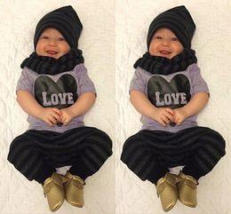 Wholesale Fashion Baby Boy Toddler Clothes Set letter love T shirt Top stripe Pants Leggings Hat Outfits Suit