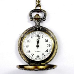 Mujer del reloj del collar en venta-Medio reloj de bolsillo del tamaño del collar del estilo del reloj de época romana mujer de la manera pasada de moda Relojes de la Mujer