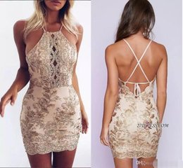 2018 New Design Sexy Halter Champange Appliques Short Cocktail Dresses Cheap Sleeveless Backless Mini Homecoming Dresses Custom Made