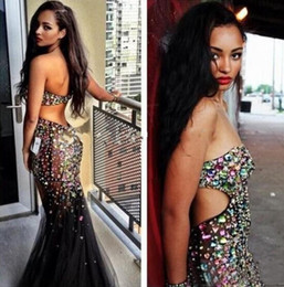 Sparkly 2016 Beaded RHINESTONE LONG DRESSES Mermaid Prom Sexy Sweetheart Cutaway Sides Backless Black Tulle Floor Length Party Dresse EN7112