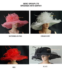 X Large brim Organza Hat with Large Organza Trim and feathers for Derby,wedding,race.red,ivory,watermelon pink,black.