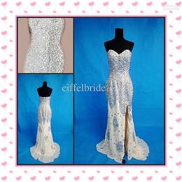 Wholesale Heavily Beaded Split Evening Dresses Online Custom Sexy Sweetheart Neck Glamorous Mermaid Side Silit Chiffon Formal Celebrity Gowns