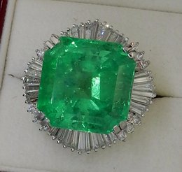 Wholesale Absolutely Magnificent ct Colombia Emerald Diamond Platinum Ring GIA F1