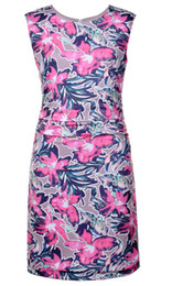 Flower Print Women Sheath Dress Round Neck Sleeveless Dresses 0718192