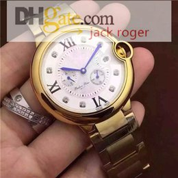 Wholesale 2016 hot sale Top Quality Mens Watch mm Blue balloon Sapphire Gold case white dial stainless steel Chronograph quartz watch Freeshipping
