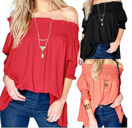 Women Smocking Blouse Sexy Black, Red, Orange Blouse Slash Neck Half Sleeve Off Shoulder Cotton Casual Loose Blouse Shirt for Girls