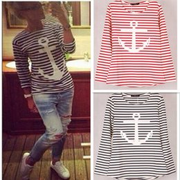 Wholesale 9 colors Striped with Printed Anchor women T shirts Long Sleeve Cotton Autumn Winter under shirts tops tees for woman S M L XL