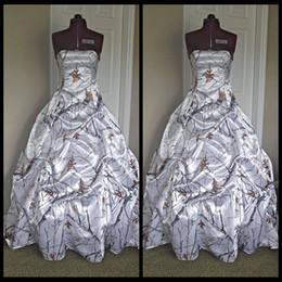 Fashion Comouflage Wedding Dresses With Pick Up Skirt White Snow Camo Bridal Dresses Realtree Wedding Gowns 2020 Vestidos De Novia