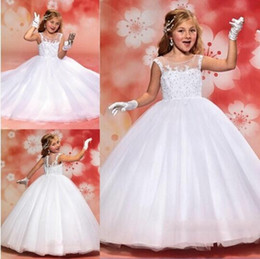 Flower Girls dresses for Weddings Sheer Neck Floor Length First Communion Dresses Ball Gowns Appliques Lace Beads Organza Pageant Gowns