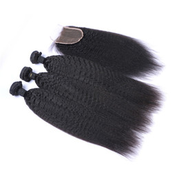 8A High Quality Indian Kinky Straight with one 4*4 Lace Kinky Straight closureNo Shedding Free Tangle Full And Thick Free Shipping Fee DHL