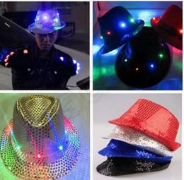 Wholesale 5 color LJJK303 Flashing Light Up Led Fedora Trilby Sequin Unisex Fancy Dress Dance Party Hat LED Unisex Hip Hop Jazz Lamp Luminous Hat