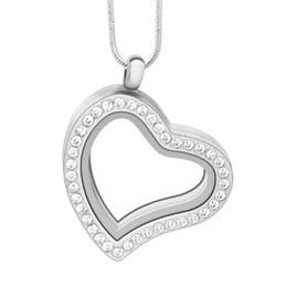 10pcssilver Heart floating charm locket Zinc Alloy+Rhinestone pendants heart glass living memory locket pendant necklace