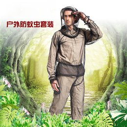 Wholesale 1 Set Outdoor Camping Fishing Adventure Mosquito Clothing Lightweight Anti mosquito Anti bee Perspective Suits M