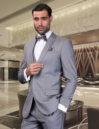 Classic Fit Grey Groom Tuxedos For Men's Wedding Wears Formal Business Prom Party Suits Notched Lapel Two Buttons (Jacket+Pants+Vest)