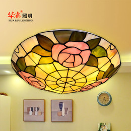 Wholesale Modern Tiffany ceiling lighting flowers artistic multicoloured glass Creative flush mount ceiling lamp indoor light fixture inches inch