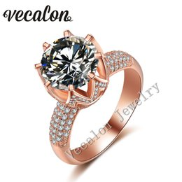 Vecalon Rose gold wedding ring for women Round cut 6ct Simulated diamond Cz 925 Sterling Silver Female Engagement Band ring
