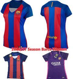 Wholesale 2016 Women BarcelonaES Jersey Football Shirt Lionel Messi camisas La Liga Maillot Suarez Iniesta Neymar Jr Pique lady Home Rugby Shirts