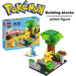 Wholesale Poke Bricks QS08 Pokémon go Small particles Building blocks assembled action figure doll Pikachu Children s educational toys style wholesal