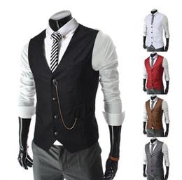 Wholesale 2016 Slim Businessman Vests Stylish Wedding Groom Waistcoat V neck Best Man Groomsmen Business Man Vests Outerwear Coats mix order
