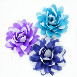 8.5 cm Double couleur imprimé tissu artificiel rose tête de fleur / DIY chic élastique bande bandeau, vêtements / chaussures / cheveux / robes accessoires à partir de tissu rose têtes fabricateur