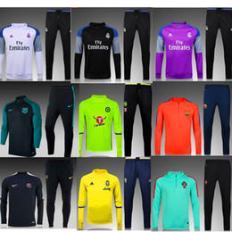 Wholesale Best Thai quality Manchester Arsenal Barcelona Atletico PSG Manchester Manchester city jerseys Men Training suit blue black real