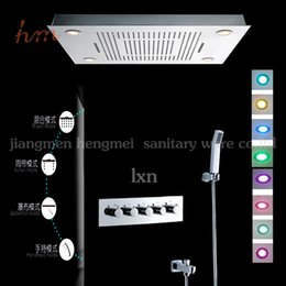 Wholesale Hot sell taps and bathroom fittings mm remote control color change embeded ceiling mounted bath shower mixer set
