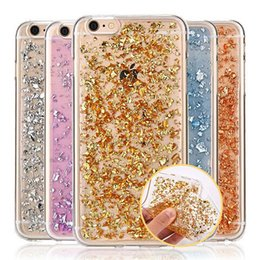 Ultra Slim Gold Foil Bling Glitter Paillette Sequin Clear Soft TPU Silicone Fundas Cover Case For iPhone 7 5S SE 6 6s Plus DHL