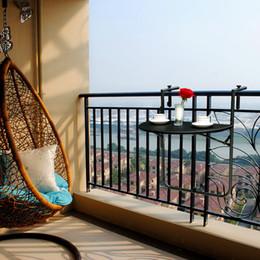 Wholesale IKAYAA Adjustable Folding Balcony Deck Table Hanging Patio Railing Coffee Table
