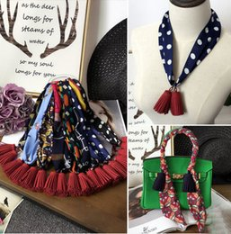 2016 New Fashion Styles Women Print Silk Ribbon Twilly Bag Scarf For Ladies Tassel handbag scarves brand scarf hair band headband small ribb