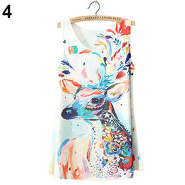 Wholesale-Sleeveless Zebra Galaxy Stars Cupid Deer Graphic Printed T Shirt Tee Blouses long Vest Tank Tops Retail Wholesale 5AW6