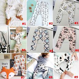 Wholesale 14 Design kids INS pp pants fashion baby toddlers boy s girl s animal fox tent wheels geometric figure pants trousers Leggings