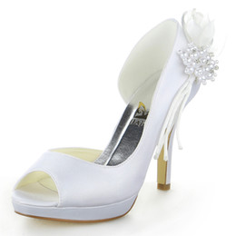 Wholesale Nice Satin Pearls flower delicate style Wedding Shoes Custom Made Size cm High Heel Bridal Shoes Party Prom Women Shoes