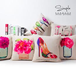 Girls Love Dress Up Glass High Heel Art Painting Decorative Pillow Case Cover Euro Pillows Travel Emoji Home Decor Vintage Gift