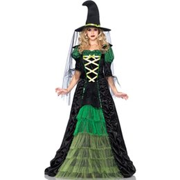 Wholesale Featuring A Long Black and Green Ruffle Ruched Sexy Fairy Adult Halloween Costume Woman Ladies Movies Witch Fancy Dress L15103