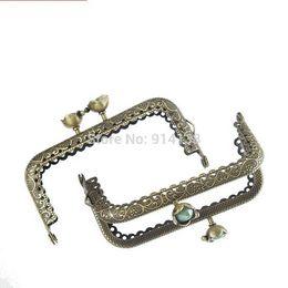 Wholesale 5 Metal Frame Kiss Clasp Arch For Purse Bag Antique Bronze Green Resin Ball Flower Pattern cm x cm B01724