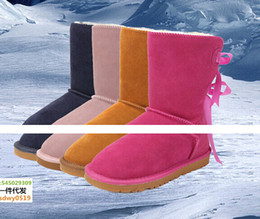Wholesale 2016 New Real Australia High quality bow knot Women Classic Snow Boots Womens boots Snow Winter boots leather shoes boot US SIZE