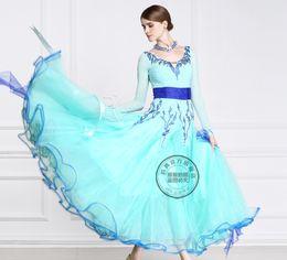 2016 new blue customize ballroom Waltz tango Quick step competition dress