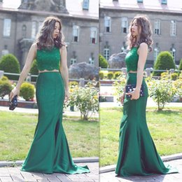 Wholesale Cheap Fancy Tops - Two Piece Prom Dresses 2017 Lace Top Mermaid Satin Evening Gowns Dark Green Beaded Cheap Fancy Dress For Free Shipping