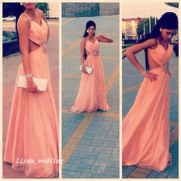 Free Shipping Sexy Peach Salmon Color Chiffon Sleeveless Long Backless Formal Female Prom Evening Dresses Party