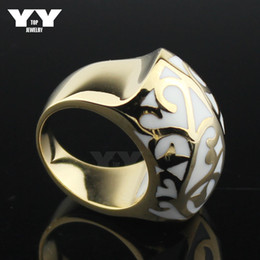 Hight quality stainless steel plated 18k yellow gold rings women Casting ring cool ball shape enamel white flowers vintage style