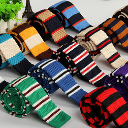 Knitting tie Flat-end Neck Ties 29 colors 145*5cm Men's Narrow Neck Ties Striped Necktie for Men's business tie Christmas Gift Free TNT FED