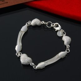 Factory direct wholesale 925 Sterling Silver 3 frosted Heart Bracelet Silver Jewelry