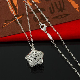 Shiny 925 Sterling Silver Thin Chain Necklace Hollow Star Pendant Necklace christmas Gift for Women Free Shipping