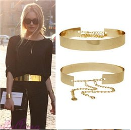 Amazing New Fashion Punk Full Metal Mirror Waist Belt for women Metallic Plate Wide Cummerbunds With Chains gold silver