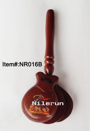 Orff percussion musical instrument Spanish wood castanets with handle