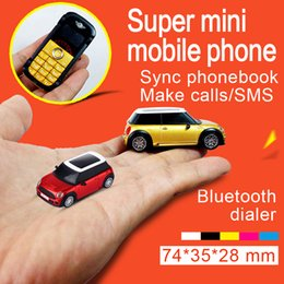 Wholesale Chinese New Fashion - DHL Free shipping New Unlocked Fashion dual sim card single band mobile phone super mini car model design cell phone cellphone Bluetooth