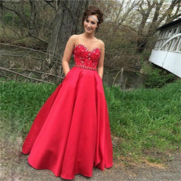 Popular Long Red Prom Dresses Sweetheart Beaded Satin A Line Floor Length Modern Girls Party Gowns Custom Made